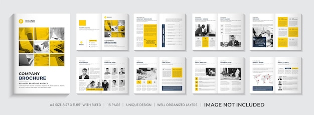 Projekt układu szablonu broszury profilu firmy lub projekt szablonu broszury yellow minimal