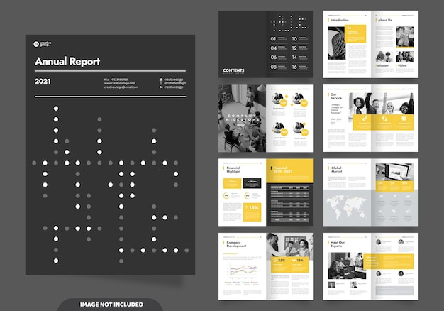 Projekt układu szablonu ze stroną tytułową dla profilu firmy i broszur