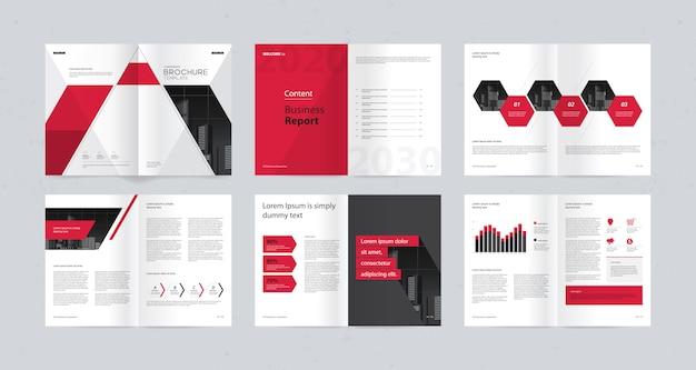 Projekt układu szablonu ze stroną tytułową dla profilu firmy