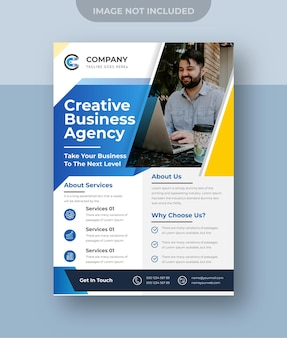 Projekt ulotki dla firm korporacyjnych, agencja marketingu cyfrowego premium vector