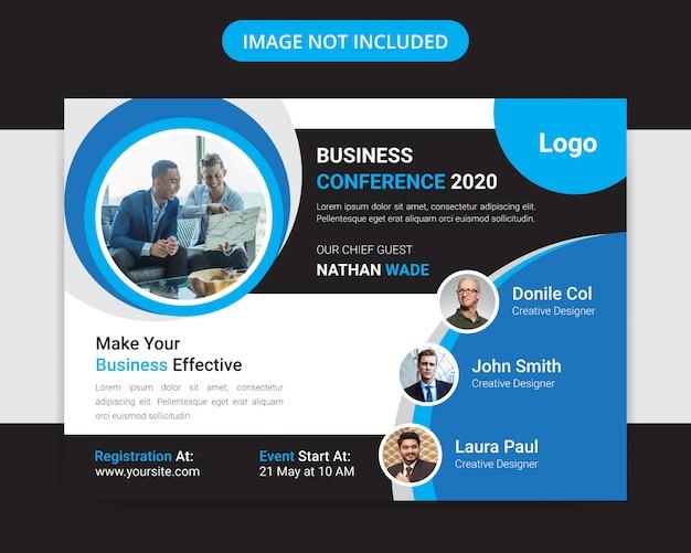 Projekt ulotki korporacyjnej konferencji biznesowej poziomej