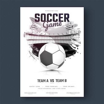 Projekt ulotki lub plakat piłki nożnej, czarno-biały projekt.