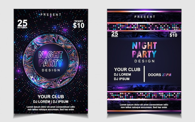 Projekt ulotki lub plakatu kolorowy night dance party
