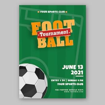 Projekt ulotki lub plakatu turnieju piłkarskiego w kolorze zielonym