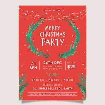 Projekt ulotki lub plakatu wieniec świąteczny