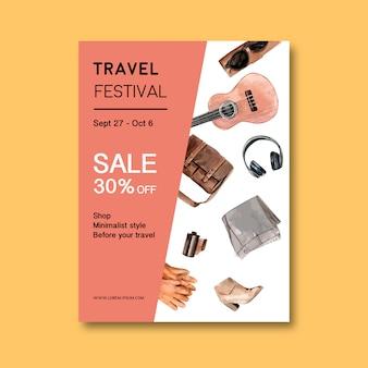 Projekt ulotki na dzień turystyki z torbą, butami, okularami przeciwsłonecznymi, rękawiczkami