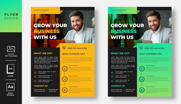 Projekt ulotki nowoczesny biznes gradient żółty i zielony