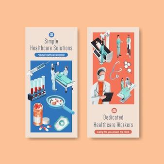 Projekt ulotki opieki zdrowotnej z banerami sprzętu medycznego i personelu medycznego z wysoko technologicznymi urządzeniami lekarzy i pacjentów