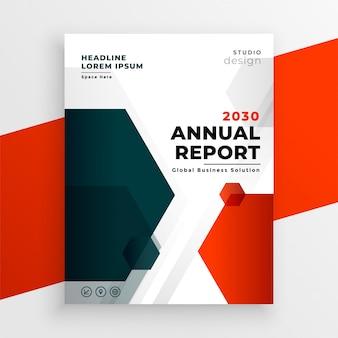 Projekt ulotki roczne sprawozdanie szablon czerwony biznes
