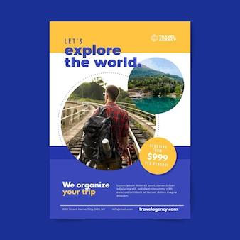 Projekt ulotki sprzedaży podróży ze zdjęciem