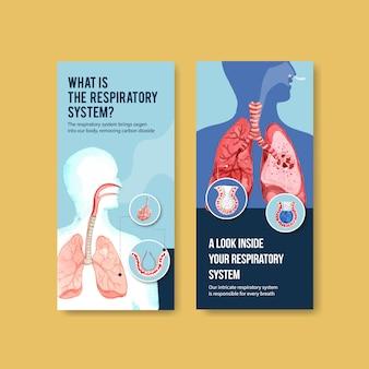 Projekt ulotki układu oddechowego z ludzką anatomią płuc i zdrową opieką
