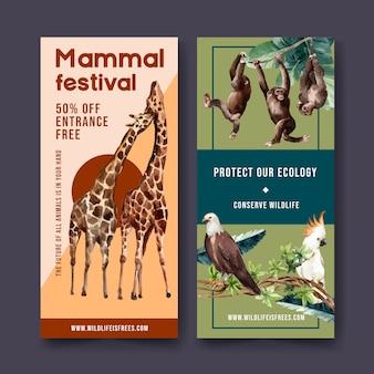 Projekt ulotki zoo z orłem, małpa, żyrafa akwarela ilustracja.