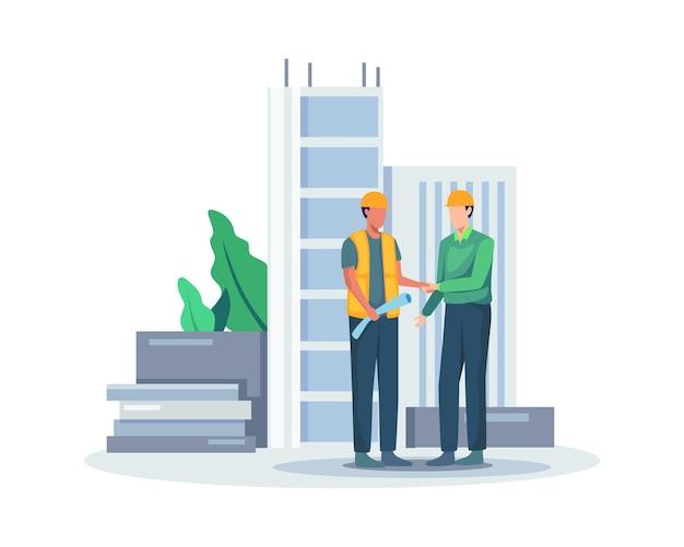 Projekt umowy negocjacyjnej. kierownik projektu budowlanego uścisk dłoni po zatwierdzonym projekcie transakcji