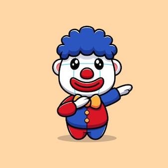 Projekt uroczego klauna maskotka z postacią dabbingową ilustrację