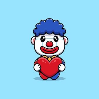 Projekt uroczego klauna trzymającego ilustrację maskotki w kształcie serca