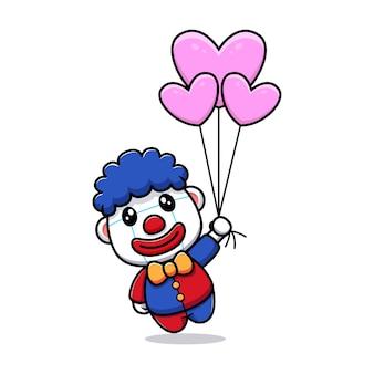Projekt uroczego klauna unoszącego się z ilustracją maskotki w kształcie balonu