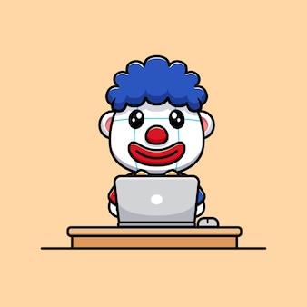 Projekt uroczego klauna z ilustracją maskotki postaci laptopa