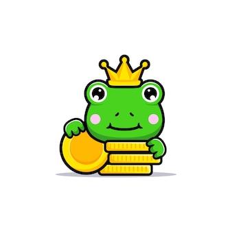 Projekt uroczego króla żaby ze złotymi monetami