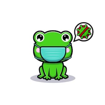 Projekt uroczej żaby noszącej maskę w celu zapobiegania wirusowi
