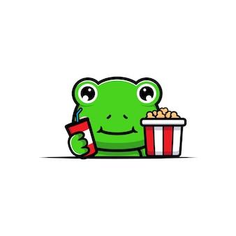 Projekt uroczej żaby z popcornem i napojem