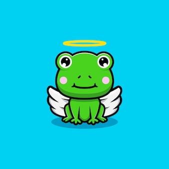 Projekt uroczej żaby ze skrzydłami