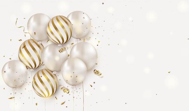 Projekt uroczystości z białymi balonami helowymi na białym. rocznica. kartkę z życzeniami wszystkiego najlepszego.