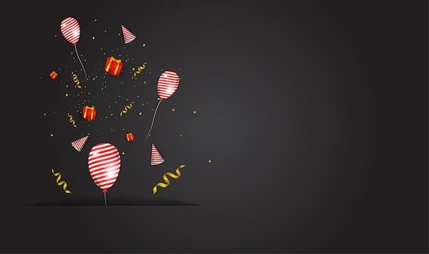 Projekt uzupełniający imprezę imprezową, zawiera czapki imprezowe, pudełka na prezenty, wstążki i balony