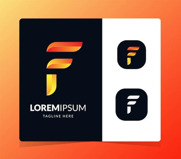 Projekt w stylu gradientu kolorowe logo litery f.