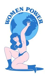 """Projekt w stylu vintage z nagą kobietą o silnej urodzie, która utrzymuje wokół planety i feminizmu hasło """"women power"""". ilustracja tatuaż starej szkoły dla nadruku odzieży t shirt naklejki znaczek plakat."""