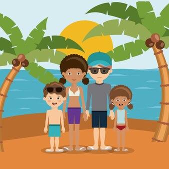 Projekt wakacji rodzinnych plaż