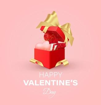 Projekt walentynki. realistyczne czerwone pudełka na prezenty. otwarte pudełko pełne ozdobnych świątecznych przedmiotów.