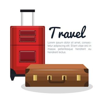 Projekt walizki podróży na białym tle