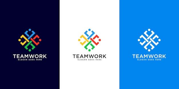 Projekt wektor abstrakcyjnych ludzi reprezentuje pracę zespołową, różnorodność, znaki i symbole.