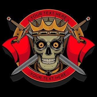 Projekt wektor głowy czaszki króla