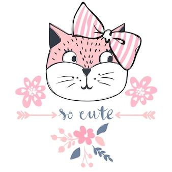 Projekt wektor ładny kot. dziewczęce kocięta. twarz cat fashion.