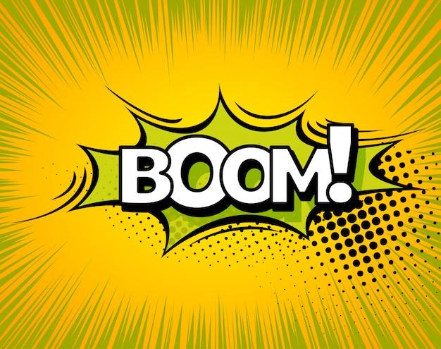 Projekt wektor wybuchu komiksu boom. bum