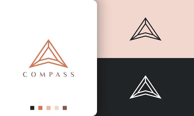 Projekt wektora logo kierunku lub kompasu w prostym i nowoczesnym stylu