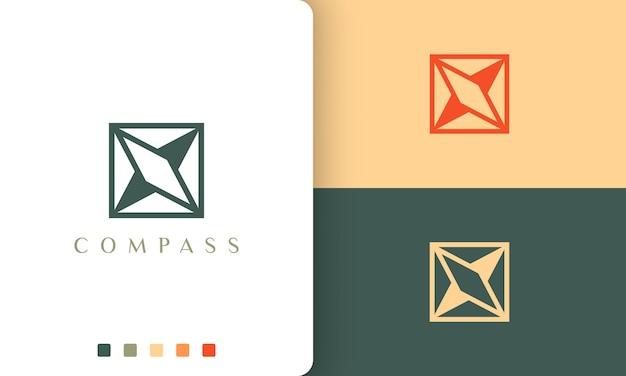 Projekt wektora logo nawigacji lub przygody z prostym i unikalnym kształtem kompasu