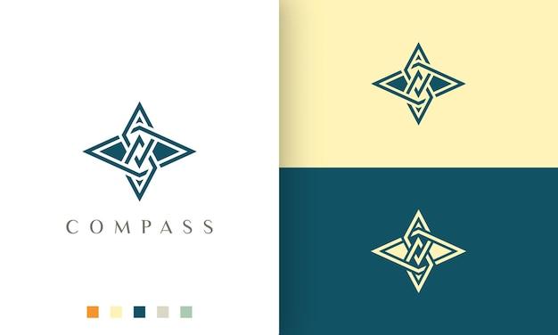 Projekt wektora logo podróży lub przygody z minimalistycznym i nowoczesnym kształtem kompasu