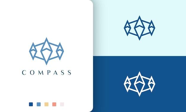 Projekt wektora logo statku lub przygody o prostym i nowoczesnym kształcie kompasu