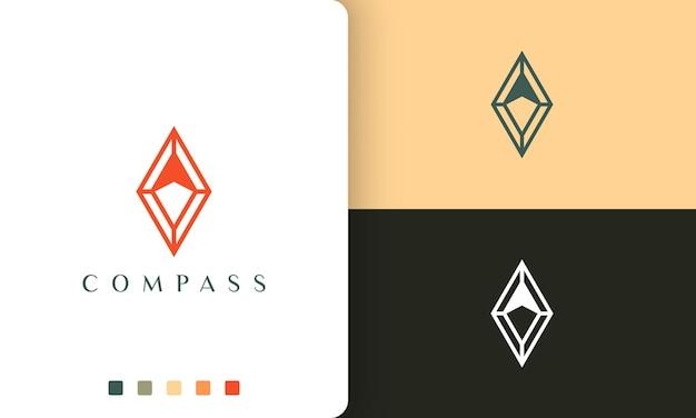 Projekt wektora logo wyprawy lub kompasu w prostym i nowoczesnym stylu