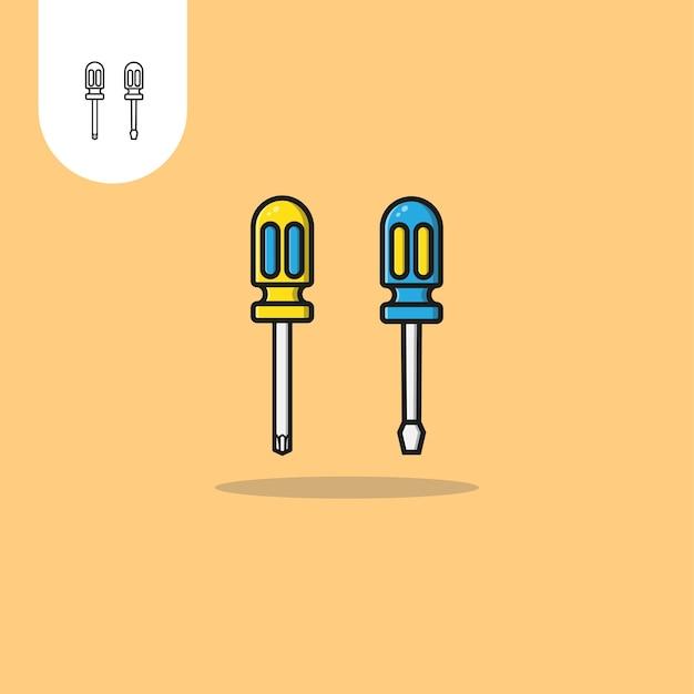 Projekt wektora śrubokręta idealne zastosowanie dla ikony projektowania wzorów internetowych ui ux itp