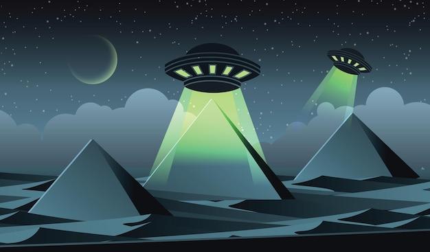 Projekt wersji kreskówki ufo przelatuje nad piramidami na ilustracji w egipcie