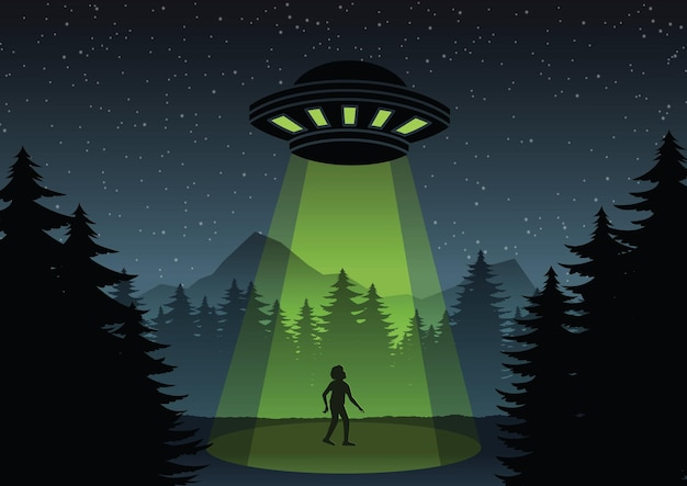 Projekt wersji kreskówkowej ufo latającego nad lasem i ilustracją mężczyzny
