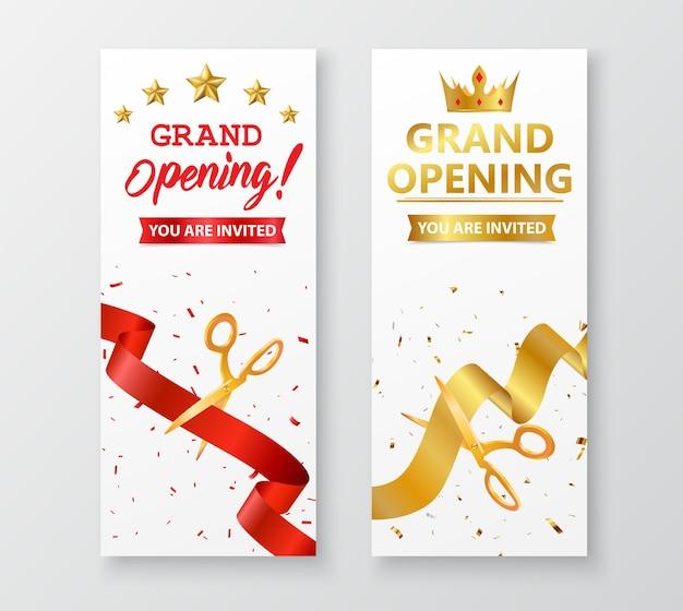 Projekt wielkiego otwarcia ze złotą wstążką i konfetti