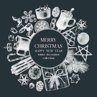Projekt wieńca świątecznego na tablicy ręcznie rysowane rysunki świąteczne
