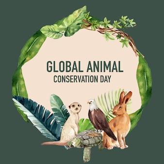 Projekt wieńca zoo z surykatki, żółwia, orła, królika akwarela ilustracja,