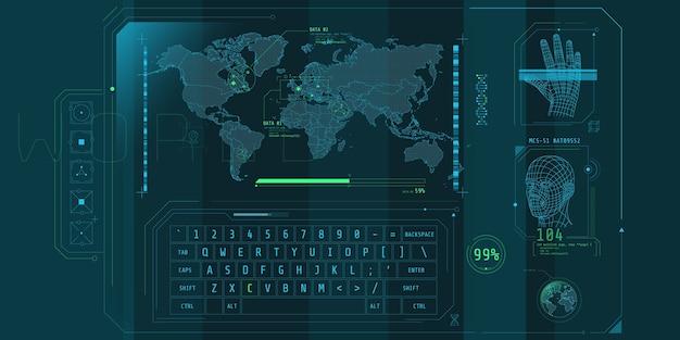 Projekt wirtualnego interfejsu programu ochrony dostępu.