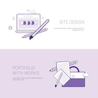Projekt witryny sieci web i portfolio z transparentem szablonu works z miejsca na kopię