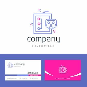 Projekt wizytówki z cyber bezpieczeństwa logo projekt wektor